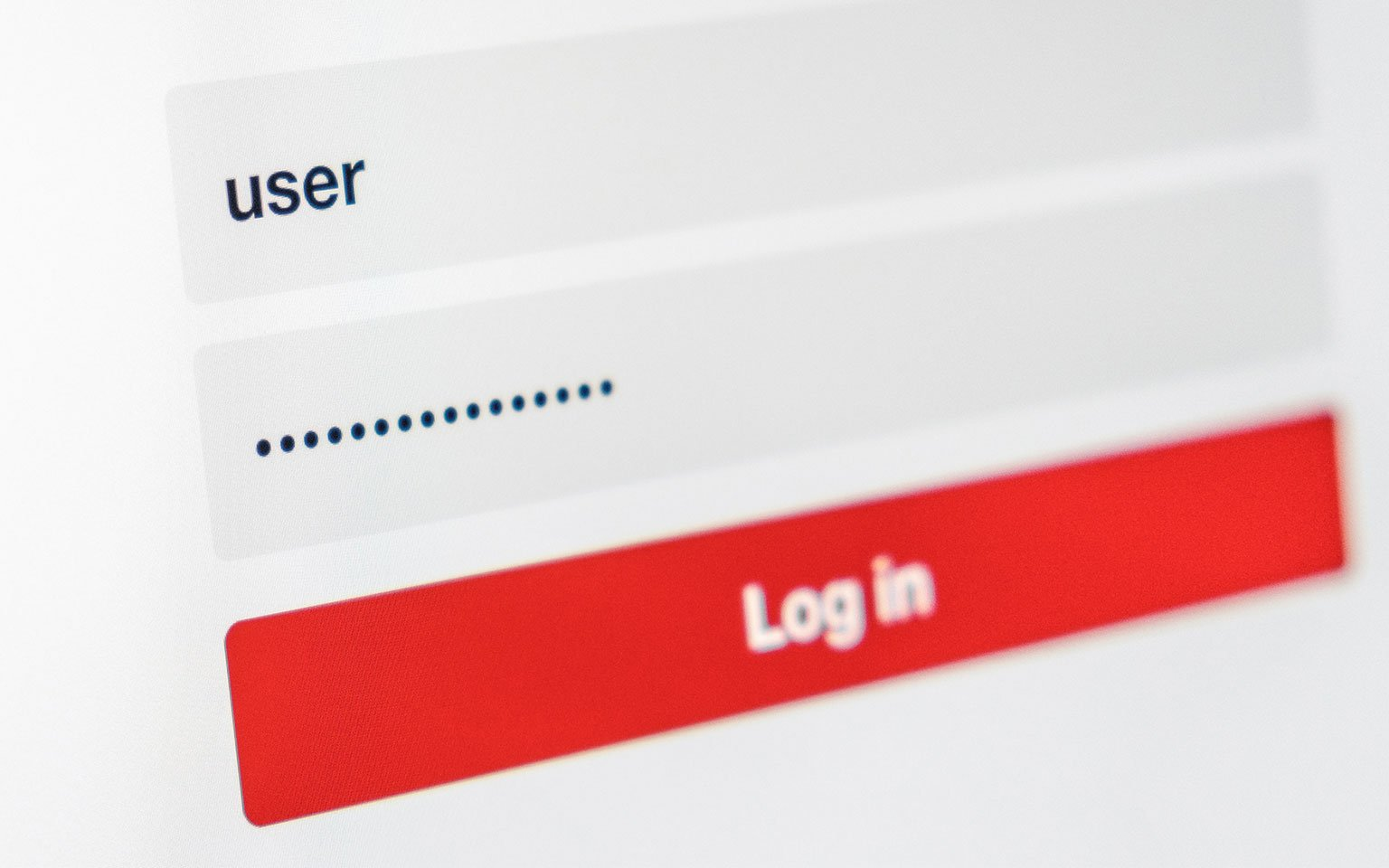 close up of computer screen showing a login page with username and password
