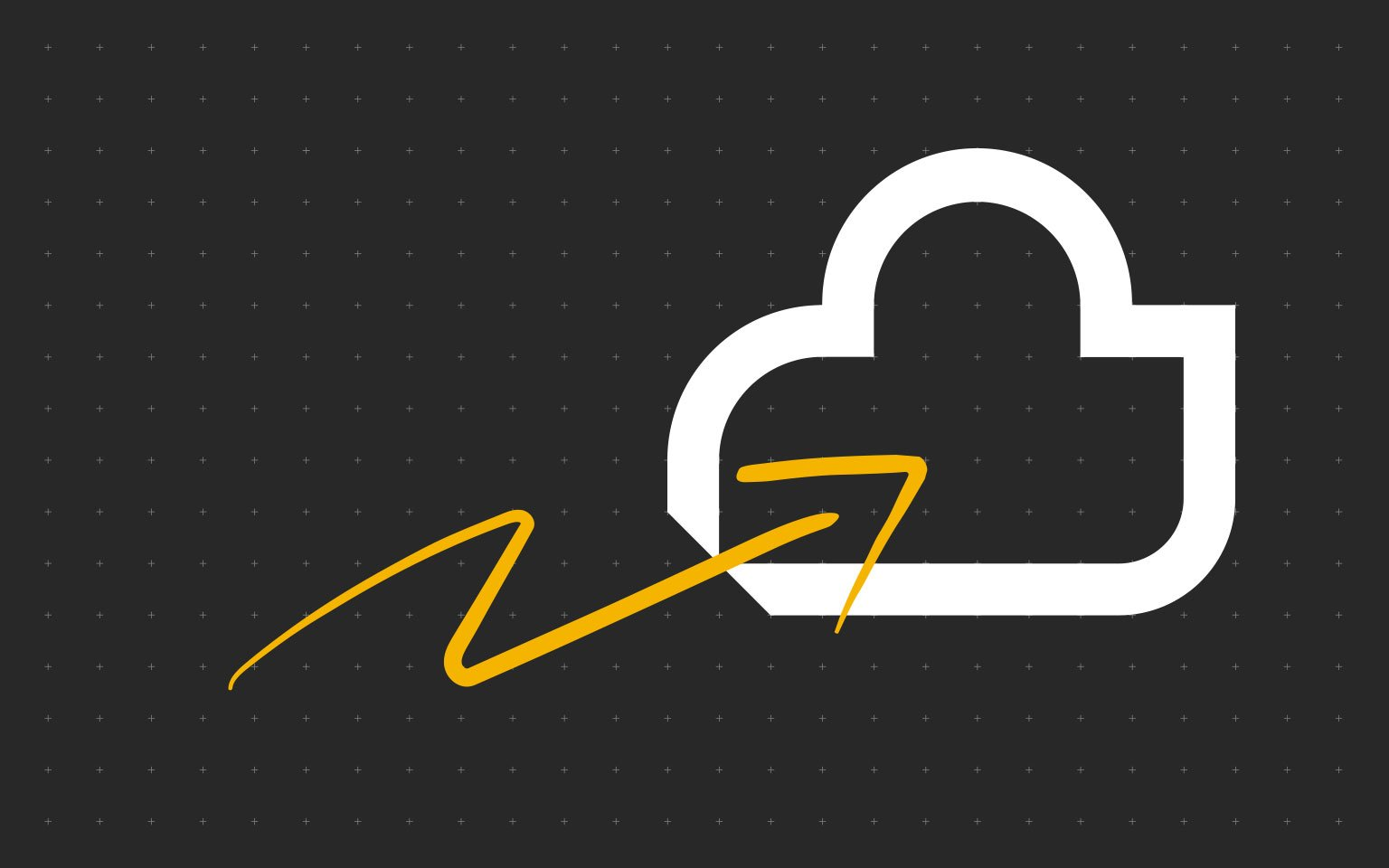 cloud icon on back background with yellow arrow
